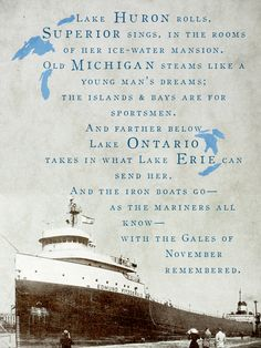 """November The Flow of the SS Edmund Fitzgerald The SS Edmund Fitzgerald (nicknamed """"Mighty Fitz"""", """"The Fitz"""" or """"The Big Fitz"""") was an Ame. Northern Michigan, Lake Michigan, Wisconsin, Great Lakes Shipwrecks, Edmund Fitzgerald, Gordon Lightfoot, Great Lakes Ships, The Fitz, Lake Huron"""
