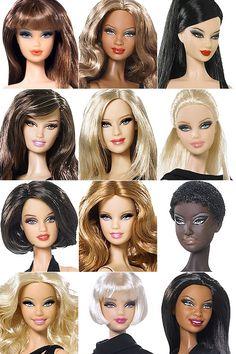 """Lembram do post da Barbie Fashionistas? Elas já estão à venda nas lojas de brinquedo brasileiras, vi todas no sábado! Agora o próximo lançamento bacaneeenha da Mattel é Barbie Basics, uma linha de 12 bonecas em seus """"little black dresses"""". As bonecas já estão sendo vendidas a $20,00 nos EUA e ainda não dá pra saber se serão vendidas em lojas brasileiras chegam ao Brasil em abril de 2010, por... Barbie Fashionista, Barbie Vintage, Vintage Dolls, Barbie Hairstyle, Barbie Basics, Barbie Images, Face Mold, Barbie Movies, Barbie Collector"""