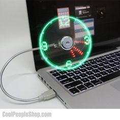 The USB powered fan clock is a fan that attaches right to your computer and has a clock built right in to the blades of the fan using LED lights. The USB powered fan clock gives you the best of both w. Usb Gadgets, Gadgets And Gizmos, Cool Gadgets, Amazing Gadgets, Cool Technology, Technology Gadgets, Usb Ventilator, Usb Lamp, Hub Usb
