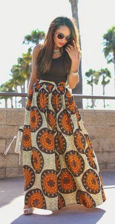 Printed Maxi Skirt + Black Blouse