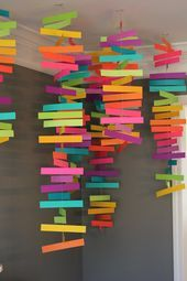 This paper ball garland craft is perfect as a Christmas decoration and it will also look absolutely adorable at any birthday party (any time of the year). Kindergarten Classroom Decor, Art Classroom, Classroom Displays, Diy Party Decorations, Paper Decorations, School Decorations, Birthday Decorations, Classroom Ceiling Decorations, Paper Wall Decor