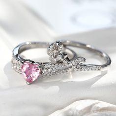 Love and Heart Design Pink Diamond Ring Set/Vancaro.comItem No. NRC0250/ 925 sterling silver, lab-created pink diamond.