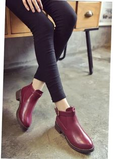 Women's Autumn Flat Martin Boots With Decorative Buckle Flat Booties, Booties Outfit, Boot Types, Martin Boots, Love Clothing, Toe Shape, Shoe Boots, Oxford Shoes, Dress Shoes