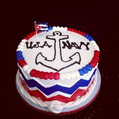 Navy themed Off To Boot Camp Cake