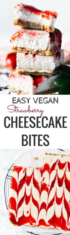 "Easy Vegan Strawberry Cheesecake - Paleo Gluten Free Eats - Easy No Bake Vegan GF Strawberry Cheesecake. Only 5 Ingredients! "" Easy No Bake Vegan GF Strawber - Cheesecake Sans Lactose, Cashew Cheesecake, Strawberry Cheesecake Bites, Dairy Free Cheesecake, Cheesecake Recipes, Vegan Treats, Vegan Foods, Vegan Desserts, Vegan Recipes"