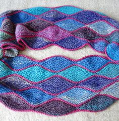 Free Knitting Pattern for Almendra Cowl - Colorful cowl made with almond shaped short row sequences. Beautiful with multi-color yarn! Designed by Sybil R. Pictured project by 01serenity01