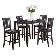 Black Counter Height Table and 4 Kitchen Counter Chairs 5-piece Dining Set ( #contemporarykitchens