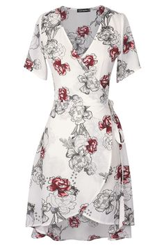 Cupshe Fire In Snow Floral Dress