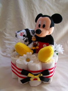 Baby Boy Diaper cake - One Tier Mickey Mouse cake - Made to Order. $20.00, via Etsy.