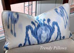 """Robert Allen Blue & White Ikat Lumbar Pillow Cover 12"""" x 20"""" $30"""