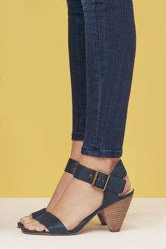 Comfortable leather sandals with unique cone-shaped heels | Sole Society Missy