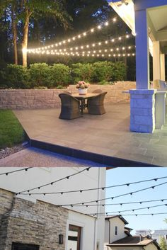 Hanging perfect lights at your patio is easier than you think! Hanging Patio Lights, Patio Lighting, Outdoor Decor, Home Decor, Interior Design, Home Interior Design, Home Decoration, Decoration Home, Interior Decorating