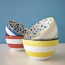Dots and Stripes - two of my favorite things combined into a  great dish set.  Thanks, West Elm.