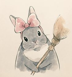 Mess with the bun you'll get the broom Bunny Drawing, Bunny Art, Cute Bunny, Cute Animal Drawings, Kawaii Drawings, Cute Drawings, Hase Tattoos, Rabbit Art, Cute Illustration