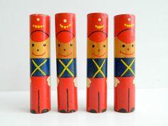 Set of 4 Vintage Painted Wood Toy Soldier Blocks