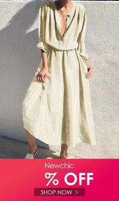 I found this amazing Solid Color Button O-neck Elastic Waist Long Sleeve Dress with US$27.99,and 14 days return or refund guarantee protect to us. --Newchic #Womensdresses #womendresses #womenapparel #womensclothing #womensclothes #fashion #onlineshop #onlineshopping #bigdiscount #shopnow #DiscountSale #discountprices #discountstore #discountclothing #fashionista #fashionable #fashionstyle #fashionpost #fashionlover #fashiondesign #fashionkids #fashiondaily #fashionstylist #fashiongirl Lace Summer Dresses, Casual Dresses For Teens, Holiday Dresses, Modest Dresses, Dresses For Work, Long Black Bodycon Dress, Sexy Backless Dress, Maxi Dress Wedding, Boho Dress