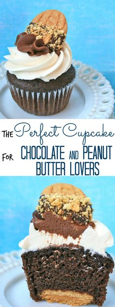 perfect cupcake for chocolate and peanut butter lovers  Okay, I just need Nutter Butter Cookies. Going to make these tomorrow