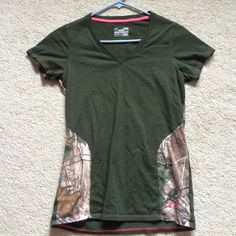 Under Armour Hunting Camo Charged Cotton VNECK  Very unique:) and adorable. Worn only once or twice :) super comfy. ️price fairly firm. No trades Under Armour Tops Tees - Short Sleeve