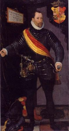 Portrait of Frederick II of Denmark, suitor to Queen Elizabeth I. Walsingham, who managed all the arrangements with Elizabeth I's suitors, used the wooing to facilitate English foreign policy. Frederick was persuaded to incarcerate Mary, Queen of Scots husband, The Earl of Bothwell, who died 10 years later chained to a post. Frederick's daughter, Anne, eventually married Mary's son, James VI of Scotland/James I of England.