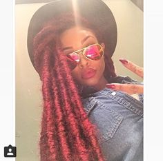Jumbo faux locs! love this red color! Hope to have the guts one day to play around with color!