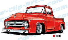 This 53 Ford Truck vector art will be right at home on your truck show t-shirt design, or your cruise night car show flyer. Set up as a 3 color print on white, you can change out the body color to suit your design. This Ford truck vector art is nice enough to be the solo element in a cool sh