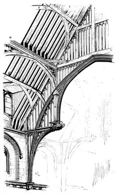 Westminster Hall roof. Drawing by Viollet-le-Duc from Dictionnaire Raisonne de 1'Architecture.