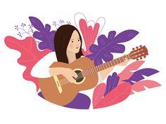 Woman playing guitar by Mariam Sargsyan - Dribbble
