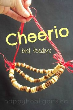 Don't toss that stale cereal! Have the kids make Cheerio bird feeders! A great way to connect kids with nature, and a super fine-motor activity too!