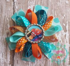 Finding Nemo inspired  Loopy flower Boutique hair bows, , grosgrain bow,, hair bows, girl hair bows