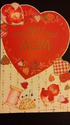 Vintage-Greeting-Card-Happy-Valentines-Day-Red-Birds-Sewing