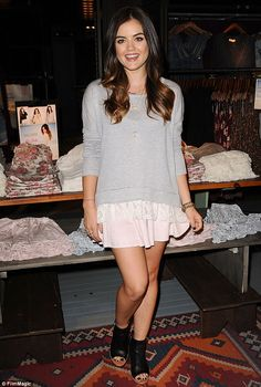 SoCal chic: Actress Lucy Hales launched her first collection at Hollister on Friday. Pictured wearing pieced from her line at the Westfield Century City store