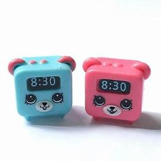 2x Shopkins Season unnamed Unleashed alarm clock prototype figurine