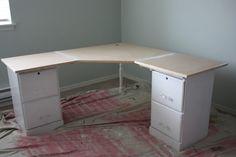 DIY corner desk for basement office