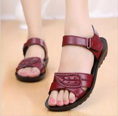 Cheap sandals women genuine leather, Buy Quality flat sandals directly from China fashion sandals women Suppliers: 2017 summer Mother shoes flat sandals women Genuine Leather Soft bottom anti-slip fashion sandals comfortable middle-aged shoes Shoes Flats Sandals, Flat Sandals, Leather Sandals, Shoe Boots, Fashion Sandals, Sneakers Fashion, Old Shoes, Sneakers Mode, Flip Flop Shoes