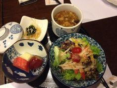 The other side dishes of the Hyotan Bento sets at Hyotan Japanese Restaurant. Beautiful cawanmushi and salad. Also love the vinegary seaweed and onions dish.
