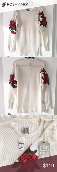 "BNWT rose patch cream thermal top 30"" in length, 16"" in bust Furst of a kind vintage limited edition. This is a hard to find item, sold out everywhere! Light makeup stains on neckline but washable   ❌ Lowball offer will get yourself blocked  LF Tops Tees - Long Sleeve"