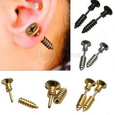 Cool Punk Mens Womens Unisex Stainless Steel Whole Screw Stud Earrings