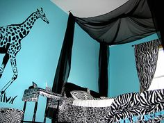 Image detail for -Jungle bedroom with giraffe, zebra stickers - decor by kimmie - Zee ...