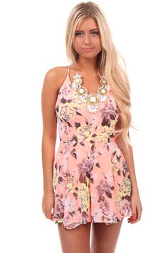 Lime Lush Boutique - Bright Salmon Floral Print Romper, $46.99 (http://www.limelush.com/bright-salmon-floral-print-romper/ #lovefashion #new #fashionblog #instafashion #photomodel #beauty #trend #queen #day #us #follow #girl #dress #princess #look #lookbook #like #beautiful #cute #sexy #iphonesia
