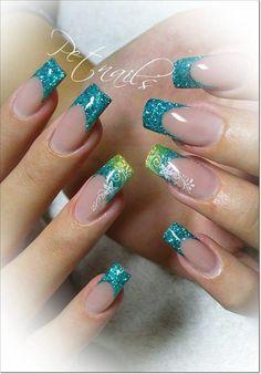 46 Ideas Nails Green Glitter French Tips Acrylic Nail Designs, Nail Art Designs, Acrylic Nails, Pretty Nail Designs, Pretty Nail Art, French Nails, Bling Nails, Glitter Nails, Airbrush Nails