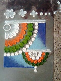 Rangoli Art by my sister Preeti Karvir Rangoli Patterns, Rangoli Ideas, Rangoli Designs Diwali, Diwali Rangoli, Kolam Designs, Ganesh Rangoli, Easy Rangoli Designs Videos, Indian Independence Day, Free Hand Rangoli
