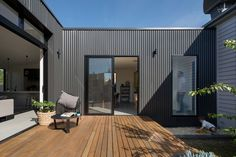Brunswick Extension by ArchiBlox (via Lunchbox Architect) - August 03 2019 at House Cladding, Exterior Cladding, Facade House, Metal Cladding, Modular Homes, Prefab Homes, Interior Flat, Terrasse Design, Timber Deck