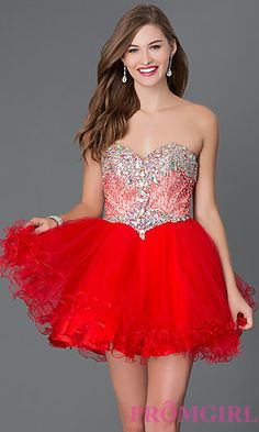 Short Strapless Sweetheart Dress with Jewel Embellished Bodice at PromGirl.com