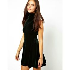 "Host Pick x2 | Glamorous | Velvet Skater Dress This fit and flare emerald dress by the Manchester based label Glamorous sold on ASOS is extremly flattering on any figure! I am 5'4"" 115 Ibs and it fits me tighter than the model and a little longer. ASOS Dresses"