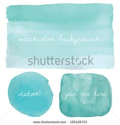 Wet Watercolor Wash. Vector Watercolor Background. Ombre Watercolor Vector Background. Teal Blue Watercolor Background - stock vector
