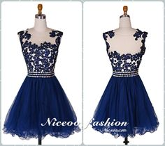 Charming royal blue A-Line/princess Scoop Neck Short Mini Tulle prom dresses with lace Beaded  #promdress #formaldress #eveningdress #prom #dress http://niceoo.com/products/16258737-charming-royal-blue-a-line-princess-scoop-neck-short-mini-tulle-prom-dresses