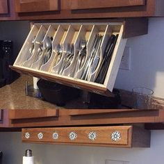 Silverware drawer Under cabinet Storage and Flatware Organizer This silverware drawer is Ideal for Organizing your Kitchen No more fussing when putting the silverware away.Take advantage of the space under your upper cabinets. Kitchen Drawers, Kitchen Storage, Kitchen Cabinets, Kitchen Island, Kitchen Cupboard, Under Cabinet Storage, Storage Cabinets, Hidden Storage, Built In Cabinets