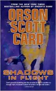 Shadows in flight by Orson Scott Card. Bean flees to the stars with three of his children - the three who share the engineered genes that gave him both hyper-intelligence and a short, cruel physical life. But the Delphikis are about to make a discovery that will let them save themselves, and perhaps all of humanity in days to come.  #flightread