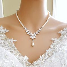 Wedding Back Necklace Set, Bridal Necklace Pearl, Crystal Backdrop Necklace, Back Drop Necklace, Wed