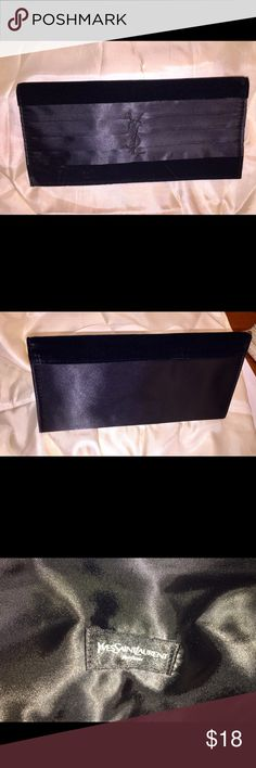 """YSL BLACK SATIN & VELVET EVENING CLUTCH BAG  5x10"""" YSL BLACK SATIN & VELVET EVENING CLUTCH BAG.  Magnetic close.   Has YSL Logo embroidered on front and """"YvesSaintLaurent"""" label on inside of clutch.  NWOT.  NEVER USED. Yves Saint Laurent Bags Clutches & Wristlets"""
